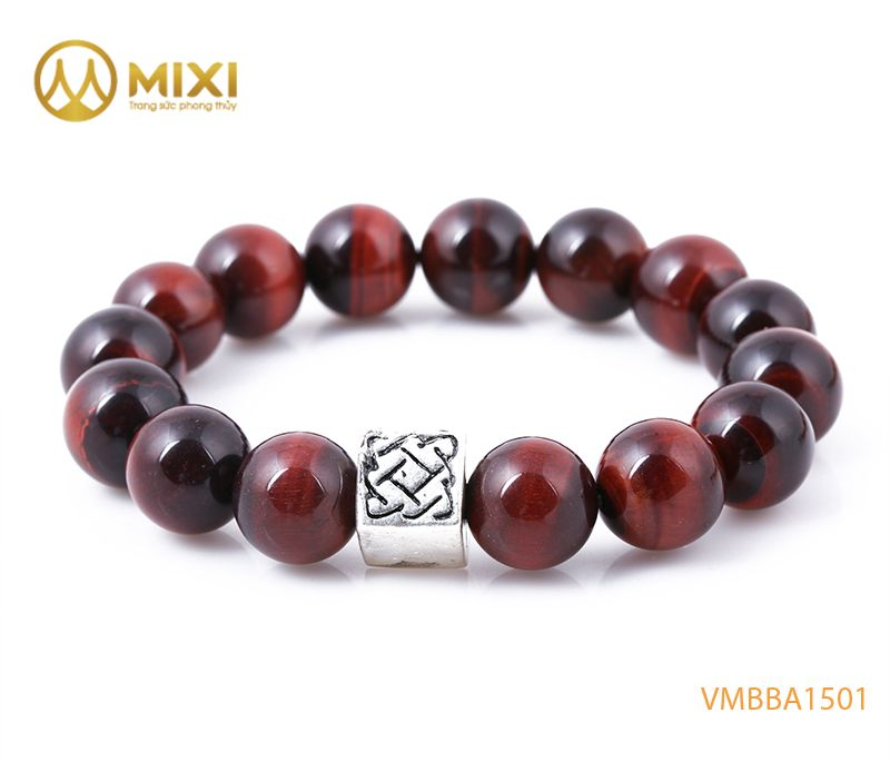 Vòng tay Mắt Hổ Đỏ 2A 12 mix Charm Bình An Bạc 999