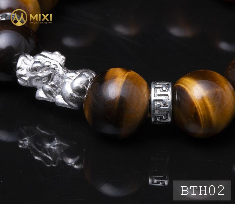 Vòng Tay Đá Mắt Hổ Nâu 2A 14 Mix Charm Tỳ Hưu Bạc 999 18 BTH02