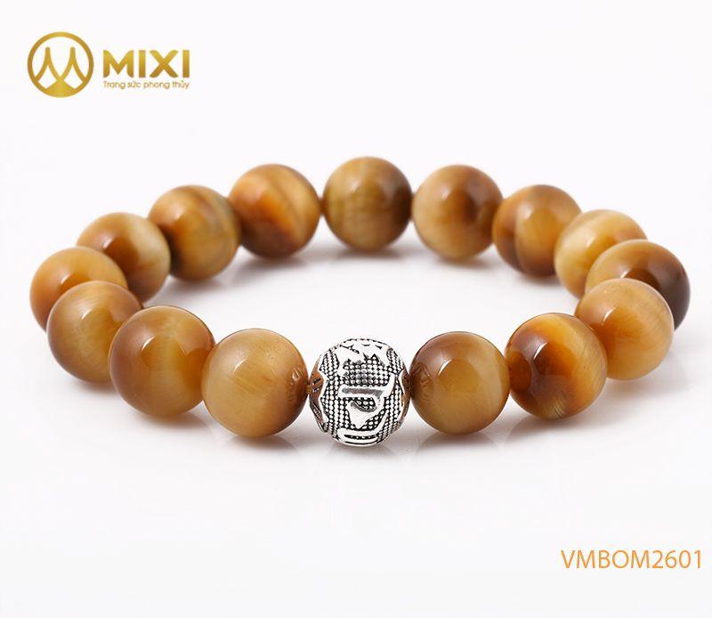 Vòng tay Mắt Hổ Vàng Tươi 2A 12 mix Charm Omshanti Bạc 925 12 BOST02
