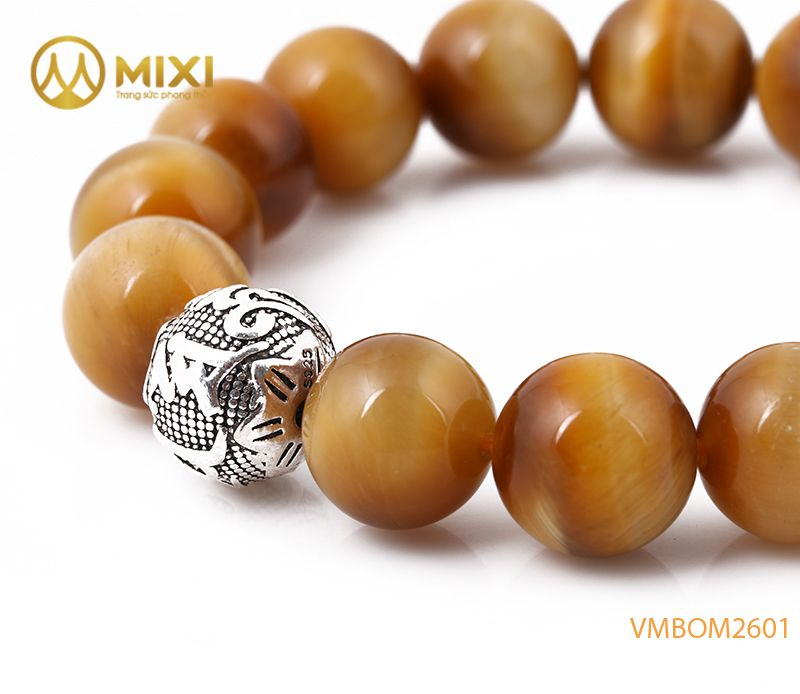 Vòng Tay Mắt Hổ Vàng Tươi 1A 12 Mix Charm Omshanti Bạc 925 12