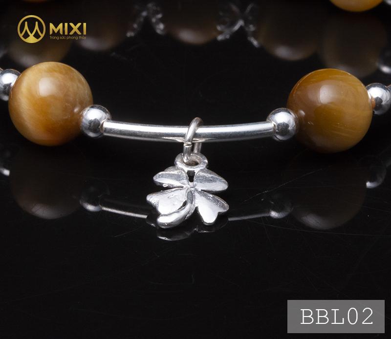 Vòng Tay Đá Mắt Hổ Vàng Tươi 2A 10 Mix Charm Cỏ 4 Lá Bạc 999 BBL02