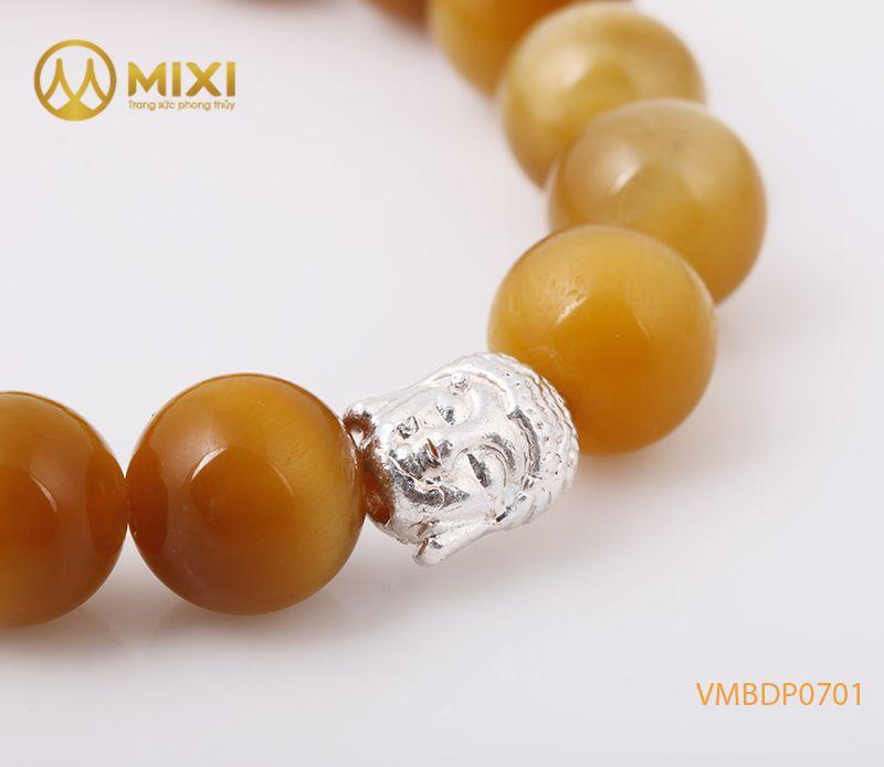 Vòng tay Mắt Hổ Vàng Tươi 3A 10 mix Charm Đầu Phật Bạc 999 BDP01