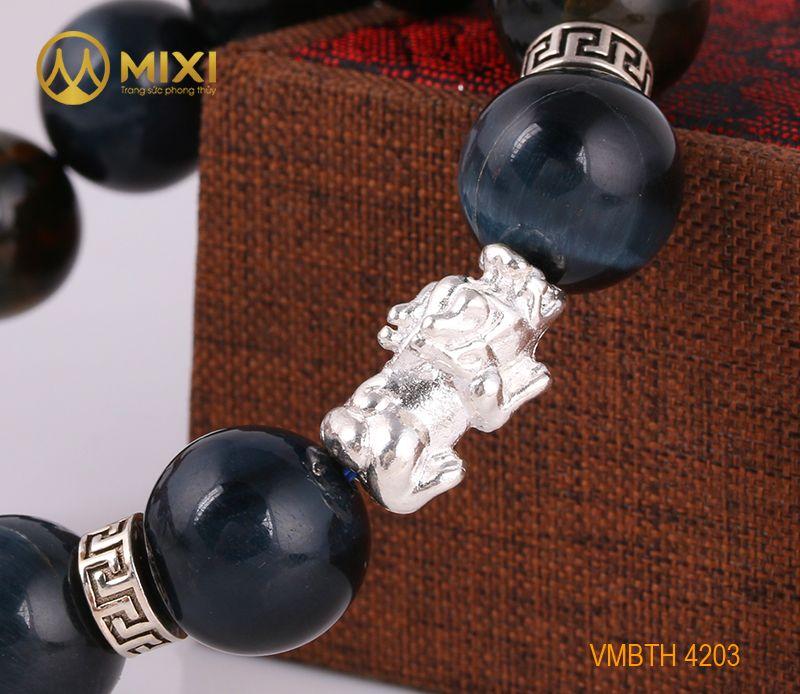 Vòng Tay Đá Mắt Hổ Xanh Đen 1A 14 Mix Charm Tỳ Hưu Bạc 999 18 BTH02