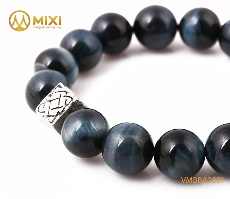 Vòng tay Mắt Hổ Xanh Đen 2A 12 mix Charm Bình An Bạc 999 BBA01