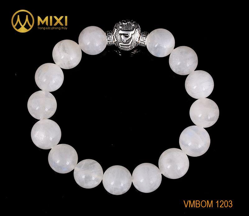 Vòng Tay Đá Mặt Trăng 1A 12 Mix Charm Omshanti Bạc 925 12 BOST01