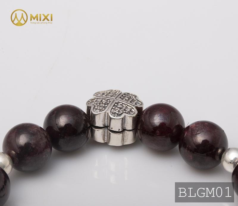 Vòng Tay Đá Ngọc Hồng Lựu Granat 2A 10 Mix Charm Lưới Giấc Mơ (Dreamcatcher) Bạc 925 BLGM01
