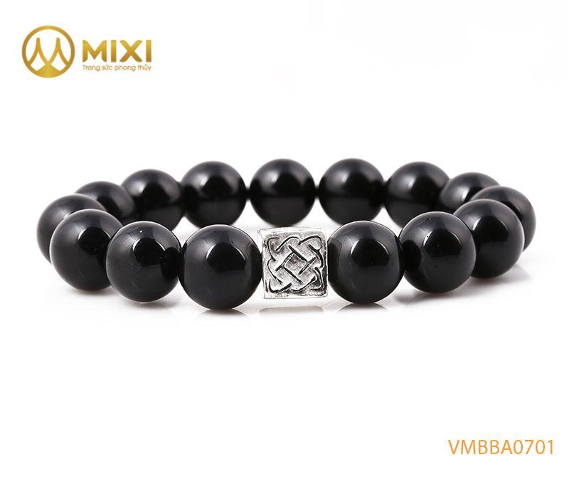 Vòng tay Núi Lửa Obsidian 12 mix Charm Bình An Bạc 999