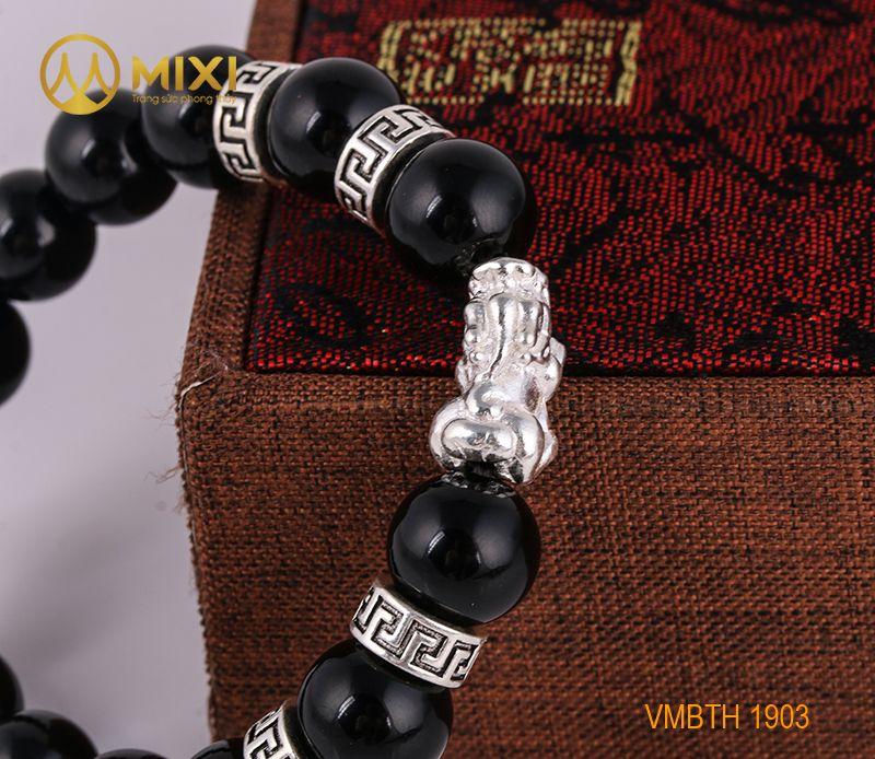 Vòng Tay Đá Núi Lửa Obsidian 12 Mix Charm Tỳ Hưu Bạc 999 22 BTH01