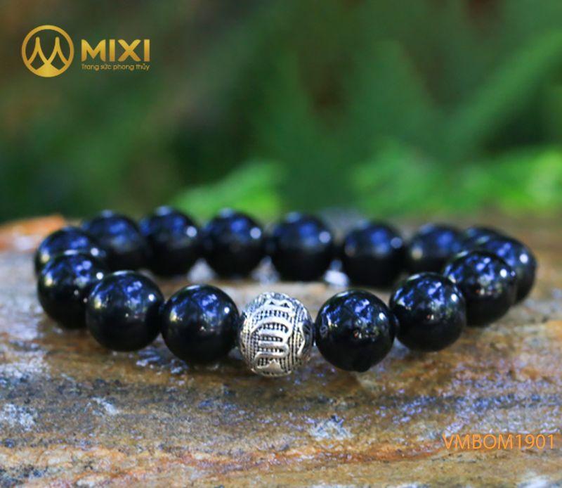 Vòng tay Núi Lửa Obsidian 12 mix Charm Omshanti Bạc 925