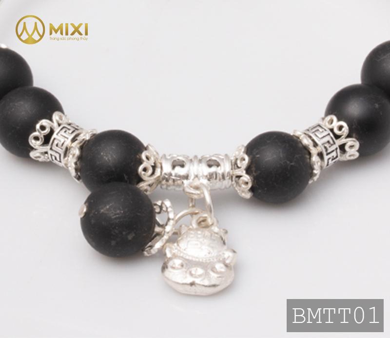 Vòng Tay Đá Núi Lửa Obsidian Nhám 10 Mix Charm Mèo Thần Tài Treo Bạc 999 BMTT01