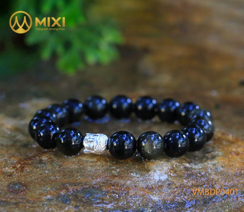 Vòng tay Obsidian Rainbow 10 mix Charm Đầu Phật Bạc 999 BDP01