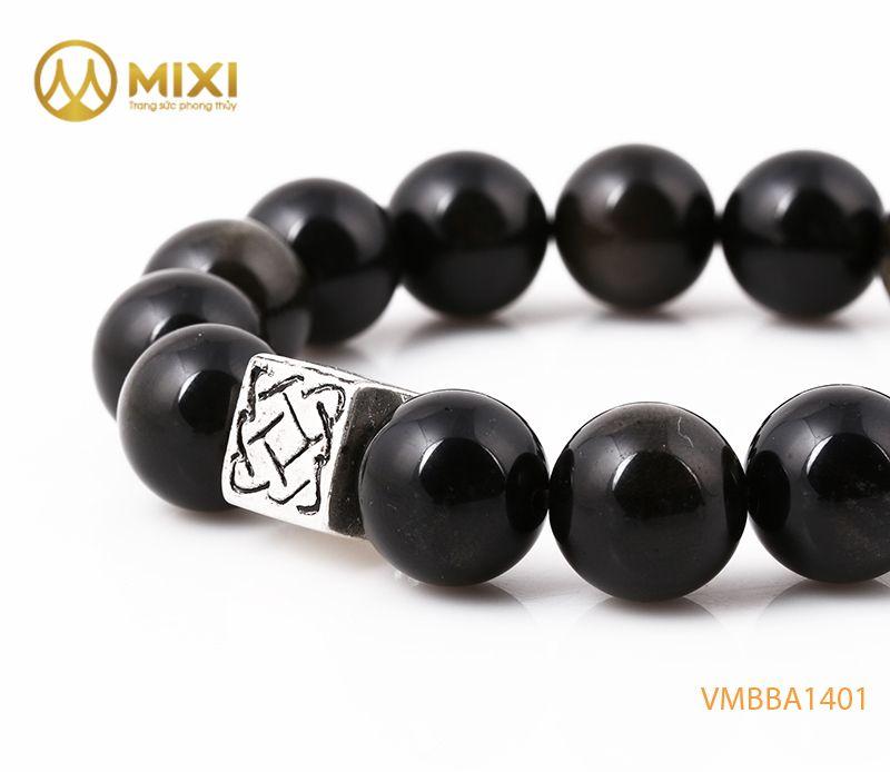 Vòng tay Obsidian Rainbow 12 mix Charm Bình An Bạc 999