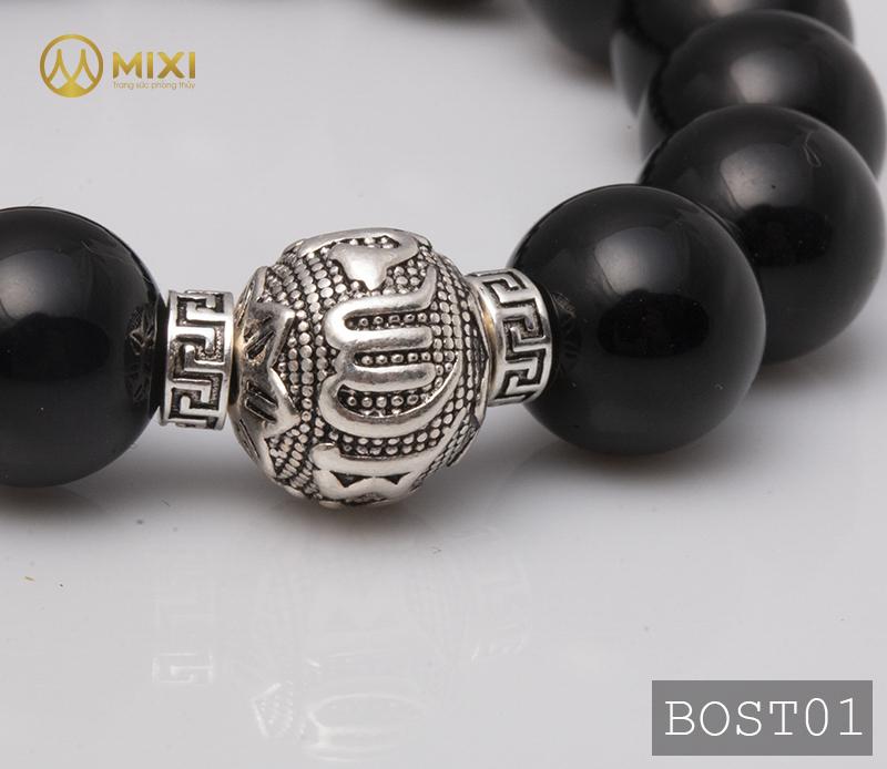 Vòng Tay Đá Núi Lửa Obsidian 12 Mix Charm Omshanti Bạc 925 12 BOST01