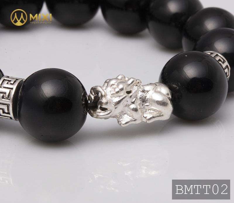 Vòng Tay Đá Núi Lửa Obsidian 14 Mix Charm Tỳ Hưu Bạc 999 18 BTH02