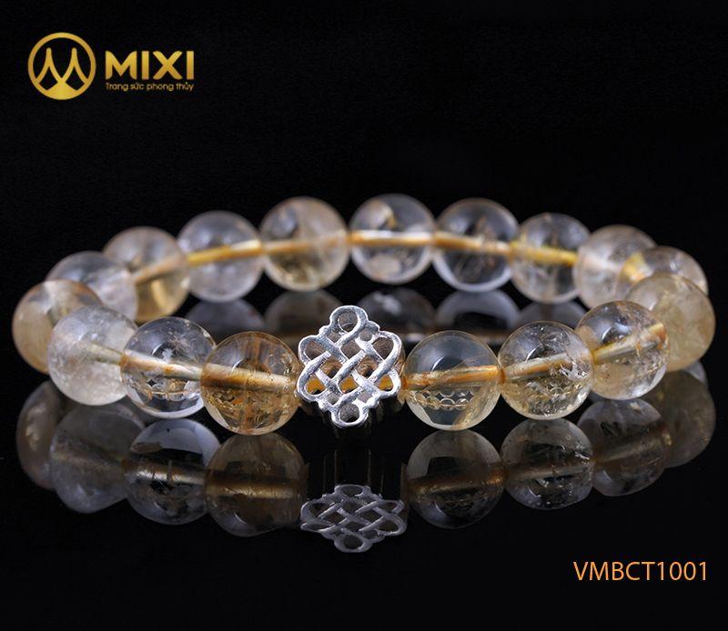 Vòng tay Thạch Anh Vàng 2A 10 mix Charm Cát Tường Bạc 925 BCT02