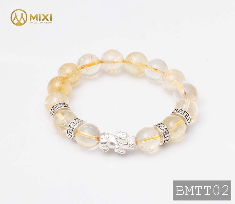 Vòng Tay Đá Thạch Anh Vàng 2A 12 Mix Charm Tỳ Hưu Bạc 999 18 BTH01