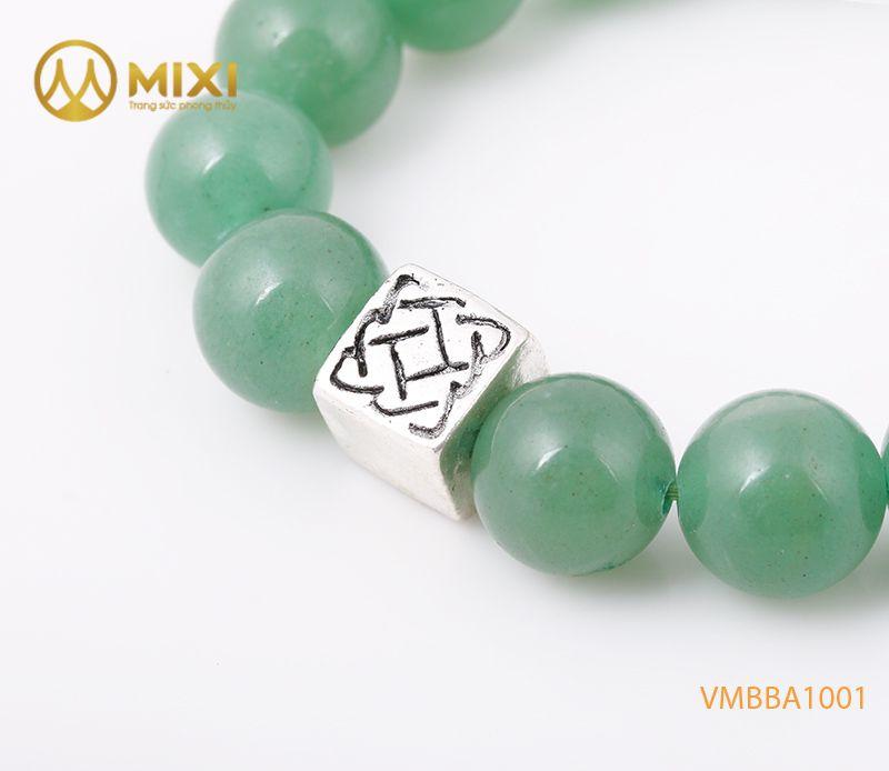Vòng tay Thạch Anh Xanh Aventurine 2A 12 mix Charm Bình An Bạc 999