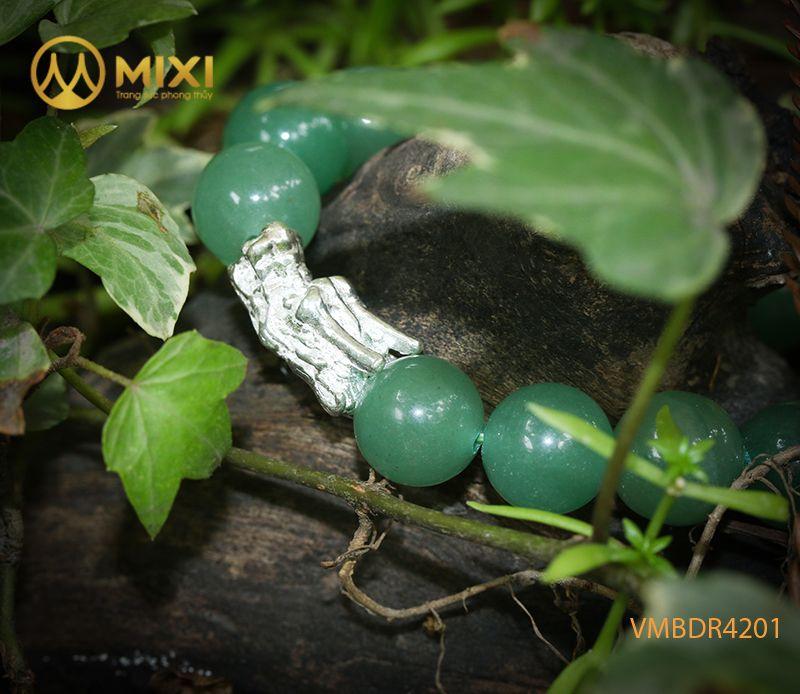 Vòng tay Thạch Anh Xanh Aventurine 2A 12 mix Charm Đầu Rồng Bạc 999 BDR03
