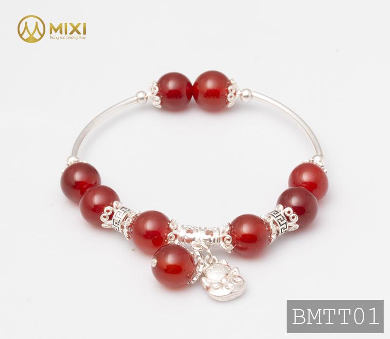 Vòng Tay Đá Mã Não Đỏ 10 Mix Charm Mèo Thần Tài Treo Bạc 999 BMTT01