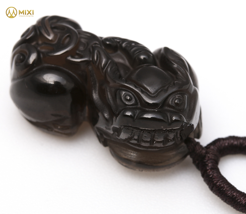 Mặt Dây Tỳ Hưu Obsidian Khói