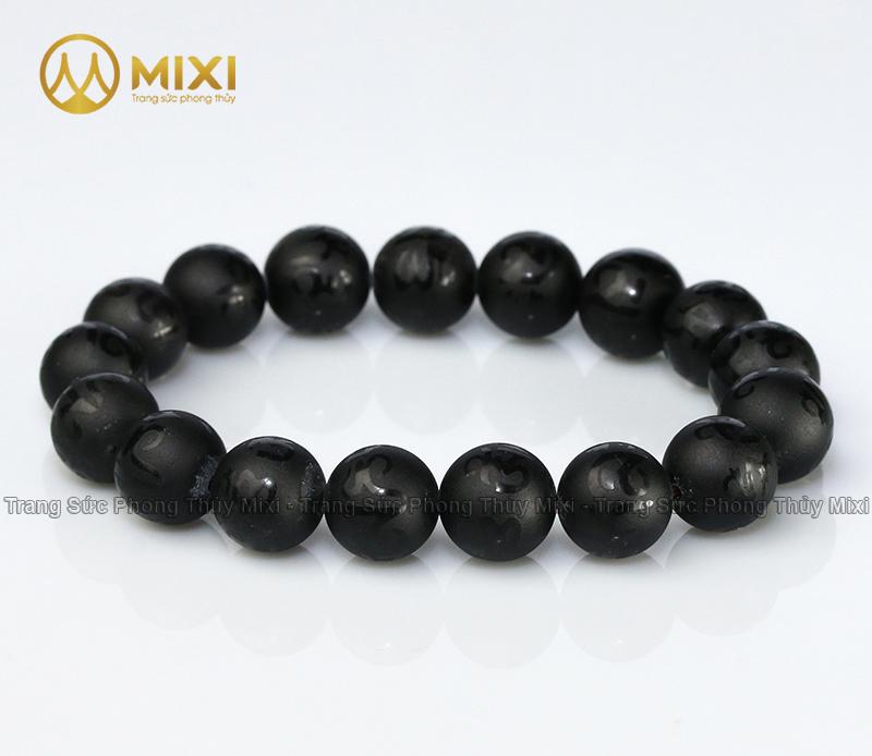 Vòng Tay Núi Lửa Obsidian Nhám Kinh Phật_14_15 hạt