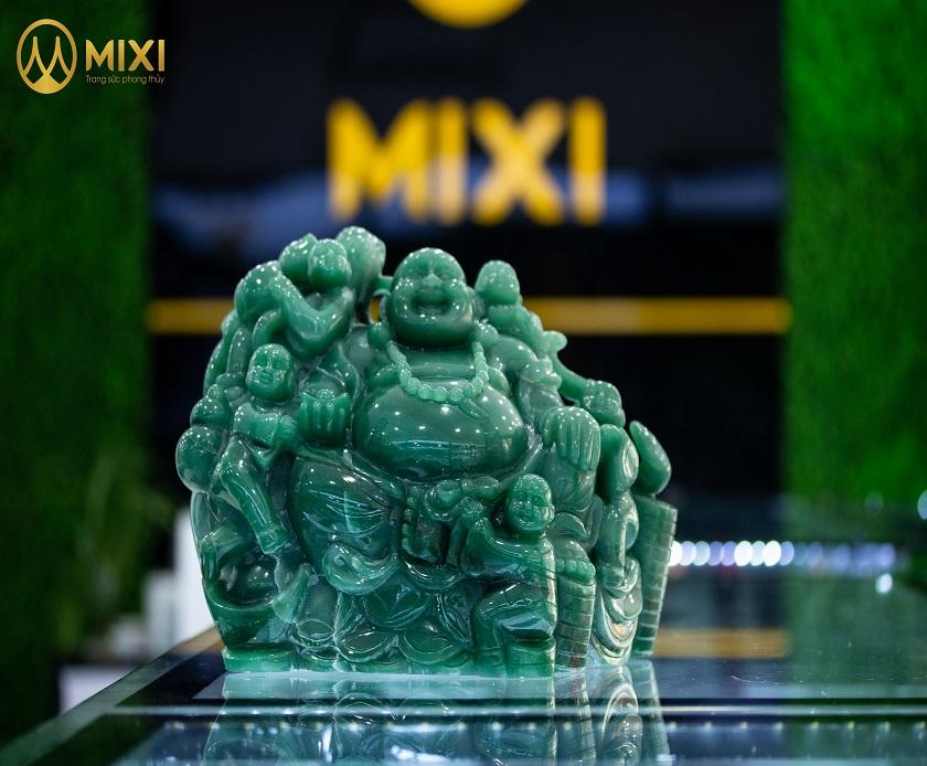 Phật Di Lặc Ngũ Phúc Thạch Anh Xanh Aventurine_25 cm
