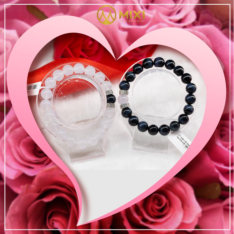 Vòng Tay Mã Não Trắng Mix Hạt Đá Mắt Hổ Xanh Đen 10 món quà trang sức phong thủy May Mắn - Hộ Mệnh - Bình An!
