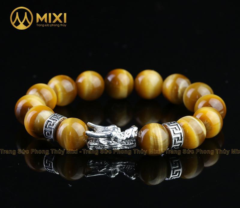 Vòng Tay Đá Mắt Hổ Vàng Tươi 2A 12 Mix Charm Đầu Rồng Bạc 999 BDR01