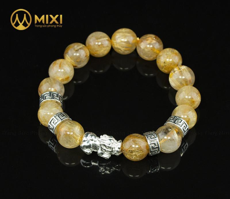 Vòng Tay Đá Thạch Anh Tóc Vàng 2A 12 Mix Charm Tỳ Hưu Bạc 999 18 BTH01