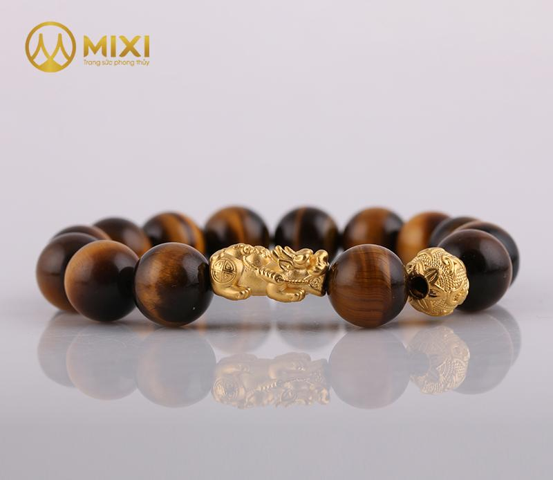 Vòng tay đá Mắt Hổ Nâu 2A Mix Charm Tỳ Hưu Tài Lộc Vàng 24k
