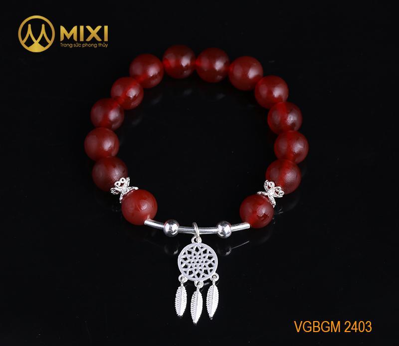 Vòng Tay Đá Mã Não Đỏ Nhám Kinh Phật 10 Mix Charm Lưới Giấc Mơ (Dreamcatcher) Bạc 925 BLGM02