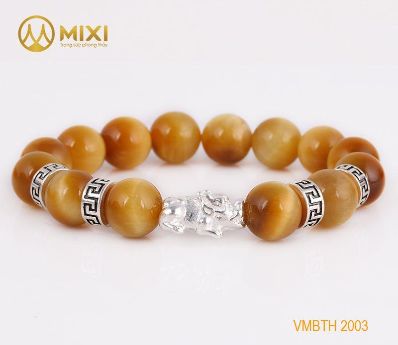 Vòng Tay Đá Mắt Hổ Vàng Tươi 2A 12 Mix Charm Tỳ Hưu Bạc 999 18 BTH01