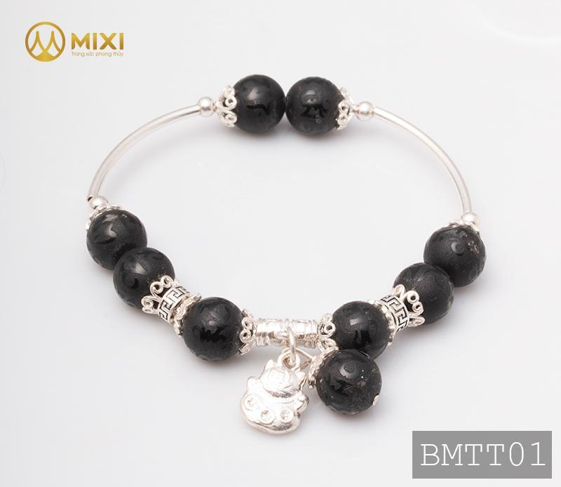 Vòng Tay Đá Núi Lửa Obsidian Nhám Kinh Phật 10 Mix Charm Mèo Thần Tài Treo Bạc 999 BMTT01