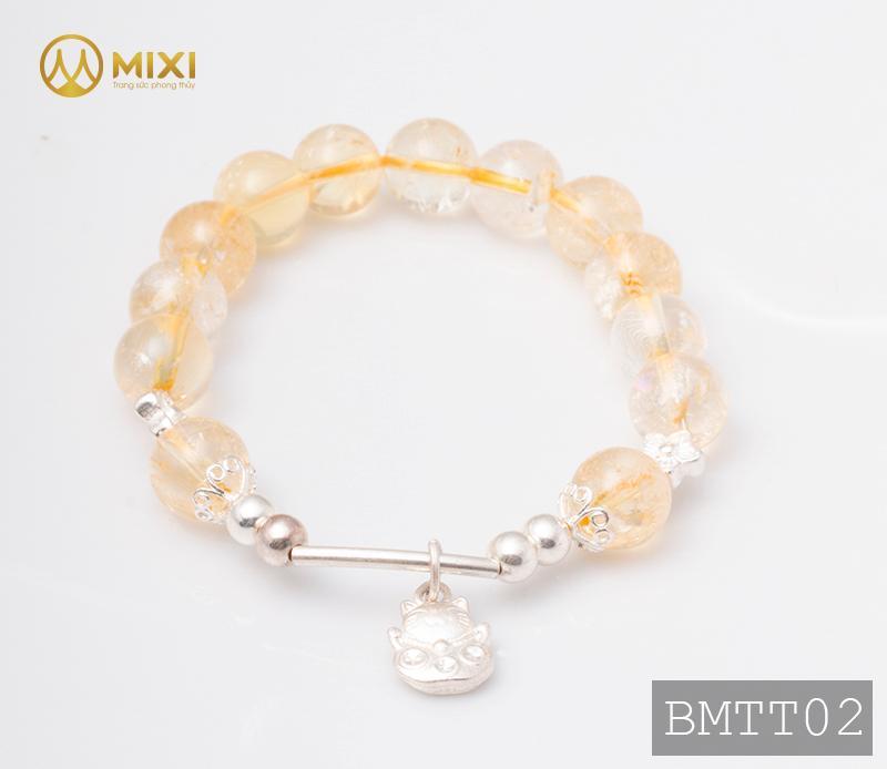 Vòng Tay Đá Thạch Anh Vàng 2A 10 Mix Charm Mèo Thần Tài Treo Bạc 999 BMTT02