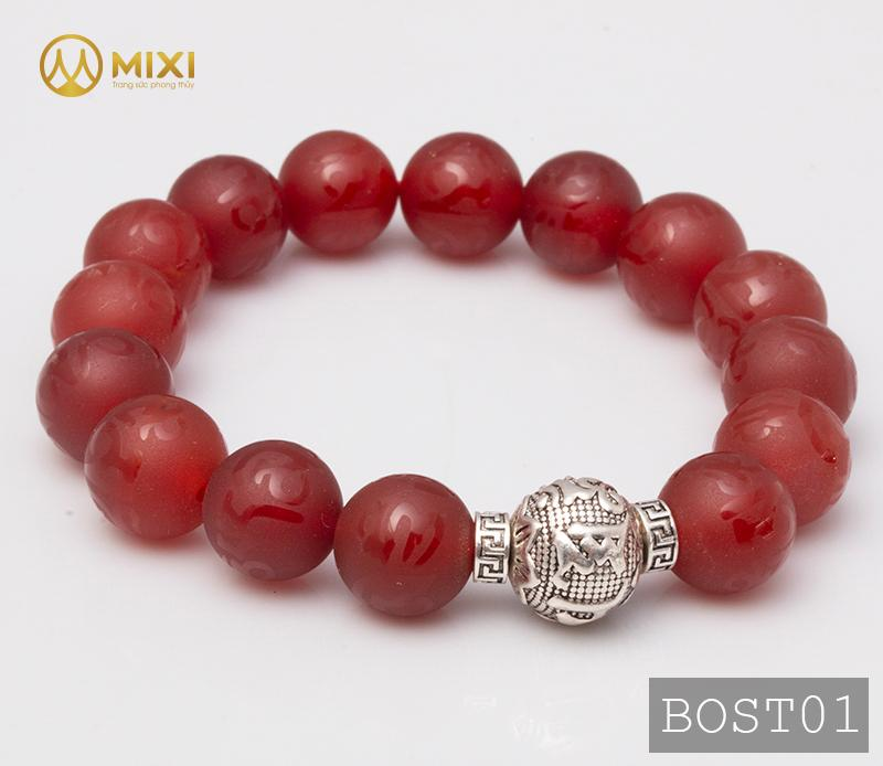 Vòng Tay Đá Mã Não Đỏ Nhám Kinh Phật 12 Mix Charm Omshanti Bạc 925 12 BOST01