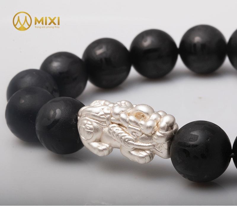 VT Núi Lửa Obsidian Nhám Kinh Phật_12 Mix Charm Tỳ Hưu Bạc 999_22