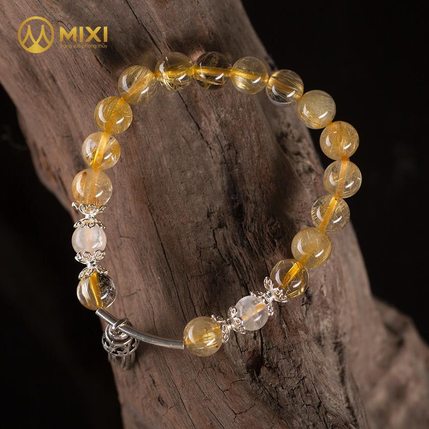 Vòng Tay Đá Thạch Anh Tóc Vàng 1A 8 Mix Charm Chuông Gió Bạc 925 BCG02