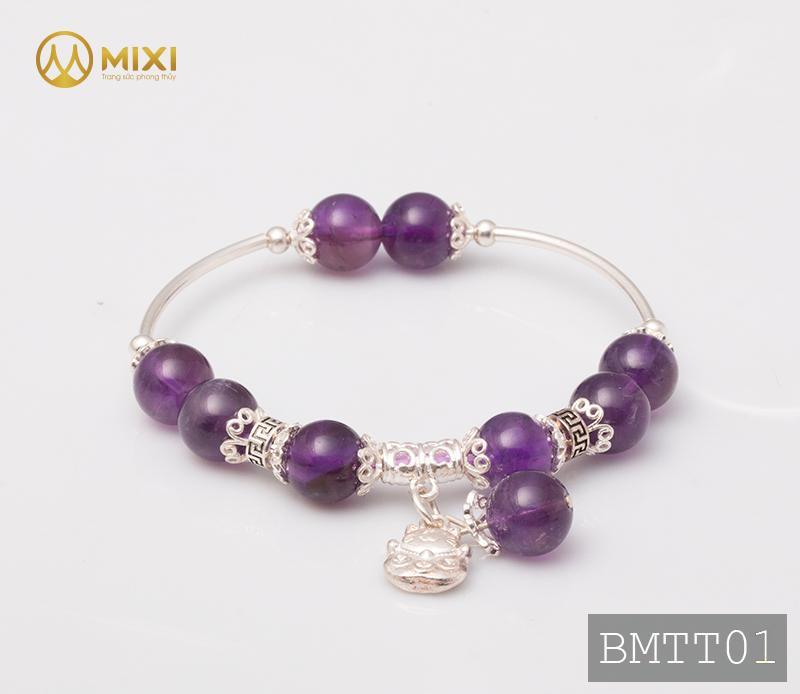 Vòng Tay Đá Thạch Anh Tím 2A 10 Mix Charm Mèo Thần Tài Treo Bạc 999 BMTT01