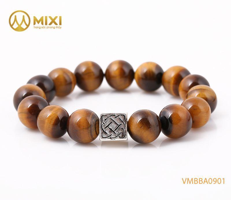 Vòng tay Mắt Hổ Nâu 2A 12 mix Charm Bình An Bạc 999 BBA01