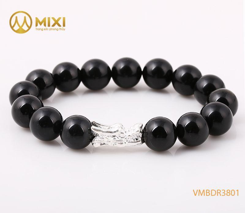 Vòng tay Núi Lửa Obsidian 12 mix Charm Đầu Rồng Bạc 999 BDR03