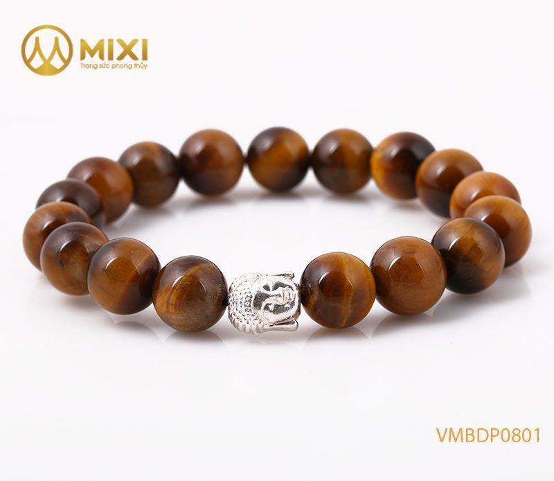 Vòng tay Mắt Hổ Nâu 2A 10 mix Charm Đầu Phật Bạc 999 BDP01