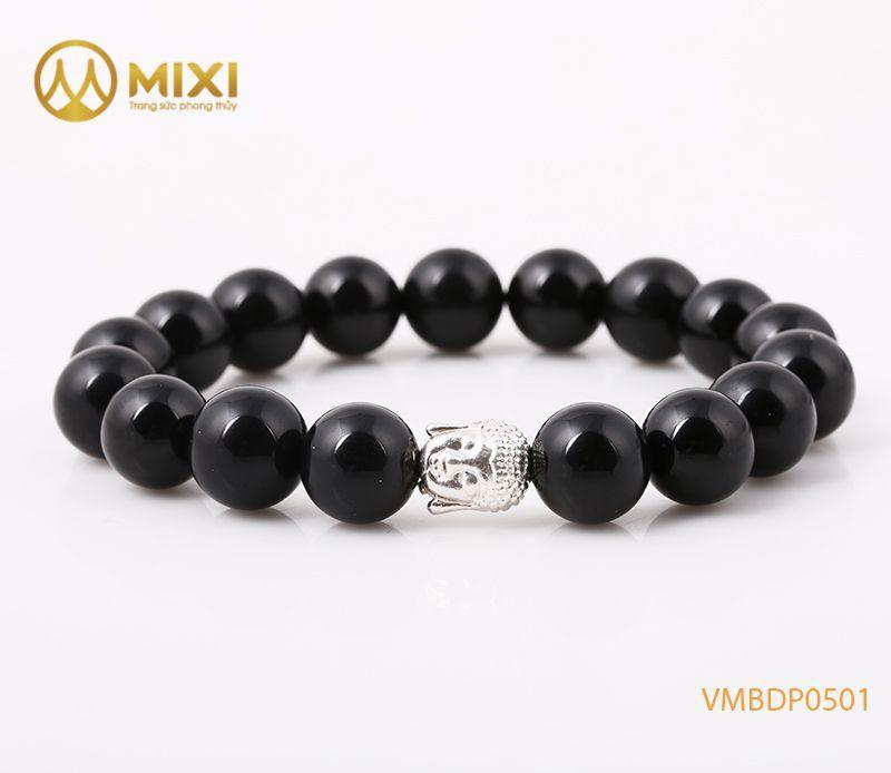 Vòng tay Núi Lửa Obsidian 10 mix Charm Đầu Phật Bạc 999 BDP01