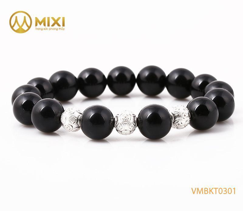 Vòng tay Núi Lửa Obsidian 12 mix Charm Bi Kim Tiền Bạc 925 8 BBKT01